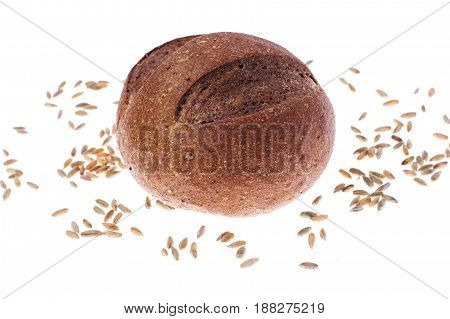 Rustic bread isolated on white background. Studio Photo