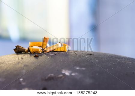 Cigarette Butts On Trash Can Public Trash Ashes Tray Container