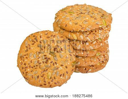 Cereal Cookies With Raisins Isolated