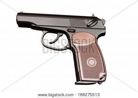 The Makarov Pistol. A Classic Pistol. Isolate.