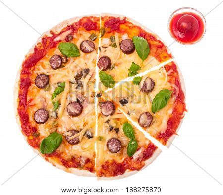 Pizza with sausages and cheese on white background. Studio Photo