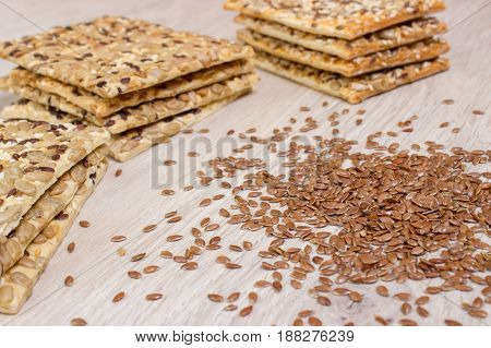 Flax Biscuit. Healthy Snacks, Flaxseed Pumpkin Seeds, Coriander, Sunflower Seeds. Salted Diets Are C
