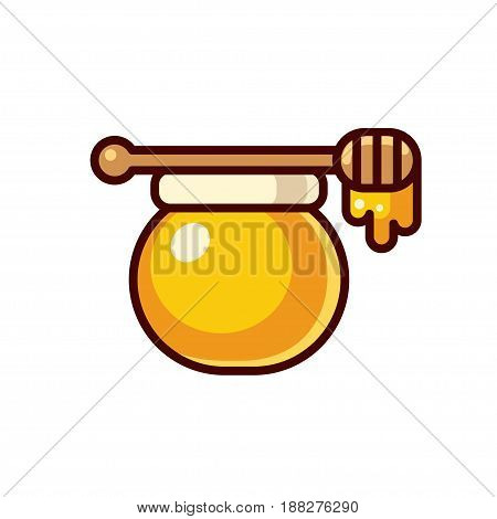Honey jar with wooden spoon vector illustration. Modern bright cartoon icon isolated on white background.