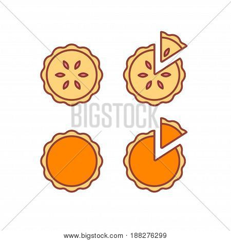 Pie icons set isolated vector illustration. Traditional pumpkin and strawberry pies whole and cut piece. Modern simple flat line style icons.