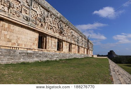 Mayan Governor's Palace in ancient Mayan city Uxmal, Mexico