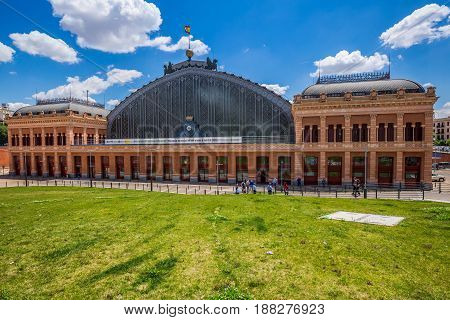 MADRID SPAIN - MAY 25 2015: Atocha railway station in Madrid Spain. It is largest railway station in Madrid.