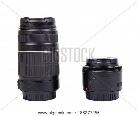Two lenses for the camera isolated on a white background
