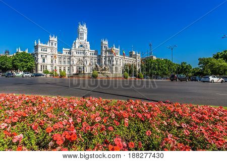 MadridSpain-May 272015: Cibeles Palace and fountain at the Plaza de Cibeles in Madrid Spain