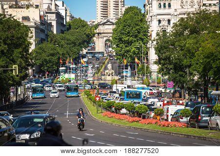 MadridSpain-May 27 2015: Cibeles Palace and fountain at the Plaza de Cibeles in Madrid Spain