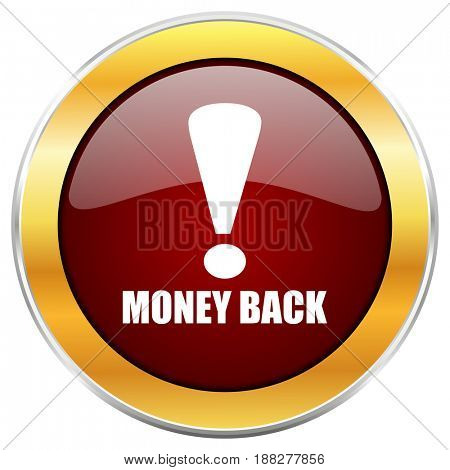 Money back red web icon with golden border isolated on white background. Round glossy button.