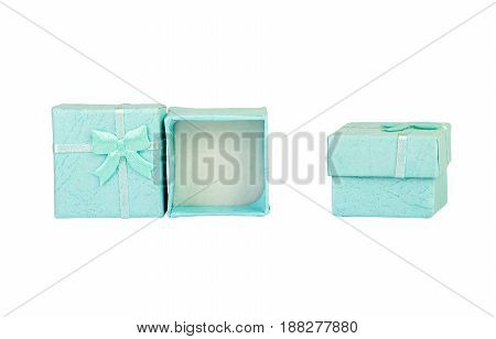 Opened Empty Blue Gift Box With A Bow On A White Background, Isolated.