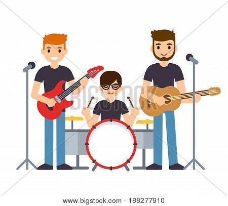 Rock group or pop music boys band three musicians playing guitars and drums and singing. Flat cartoon vector characters illustration.