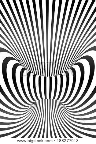 Vector optical illusion black and white lines vertical poster background