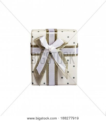 White Gift Box With Small Circles Gray Fabric Tape With Gray Tie.isolated White.