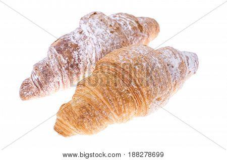 Fresh warm croissant isolated on white. Studio Photo