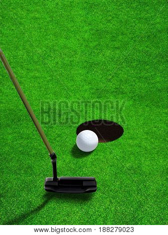 3D rendering of a putter club hitting a relatively short and low-speed stroke on golf ball at short distance to hole with copy space. Vertical orientation.