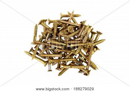 screws gold-colored on white background tools for mounting threaded which are screwed into the holes