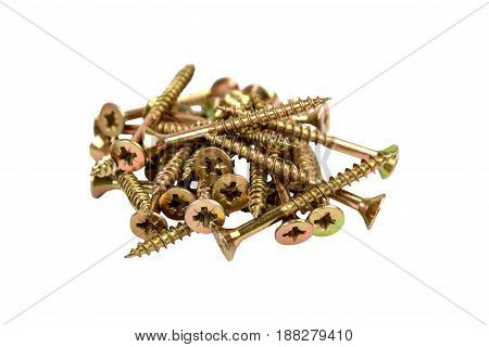 Screws Gold-colored On White Background