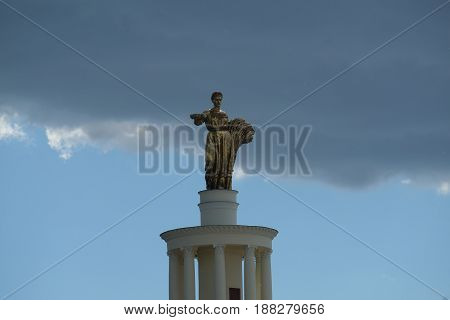 Golden sculpture symbolizing Republic Belarus - The Exhibition of Achievements of National Economy - VDNH - Moscow, Russia