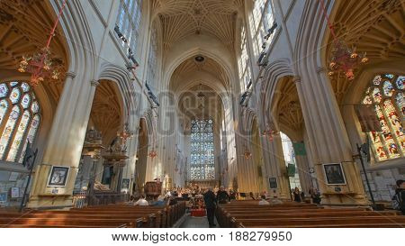 BATH ABBEY UK-APRIL 8: worship band rehearses worship songs inside Bath Abbey for Sunday service surrounding by many tourists in summer on April 8 2017
