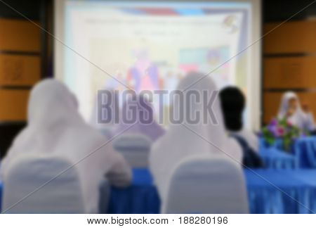 blurred of student Muslims and teacher in the lecture room