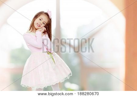 Dressy little girl long blonde hair, beautiful pink dress and a rose in her hair.She holds his palm near his face.In a room with a large semi-circular window.