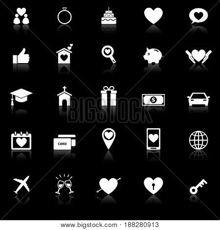 Family icons with reflect on black background, stock vector