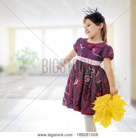 On the background of the hall with large , bright Windows. Caucasian little girl dressed in brown dress. She is holding a bouquet of maple leaves. Turning sideways to the camera.