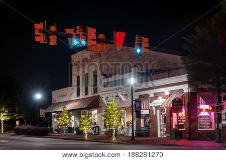 05-18-2017 Mount Holly, North Carolina, United States - Historic Downtown Of Mount Holly City At Nig
