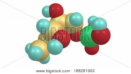 Dihydrogen phosphate or DOXP compound on white background. 3d illustration