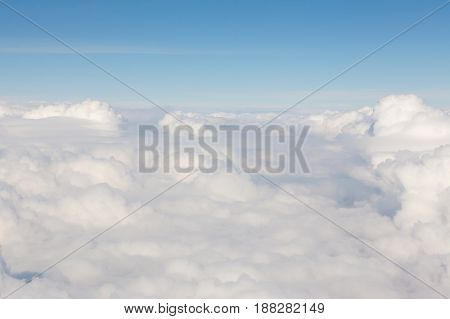 Natural white clouds with blue skyline background