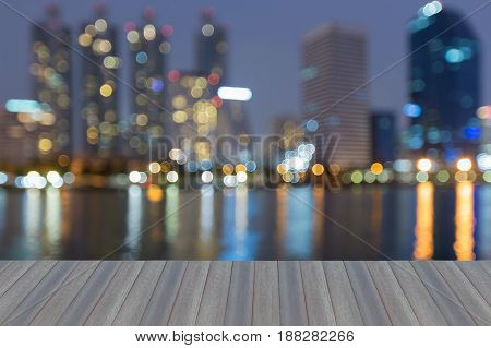 Opening wooden floor Water reflection blurred bokeh light office building abstract background