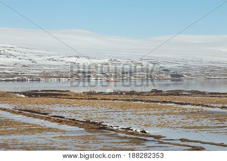 Iceland winter season snow covered landscape natural landscape background