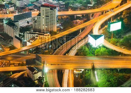 Night aerial view overpass highway intersection city transportation background