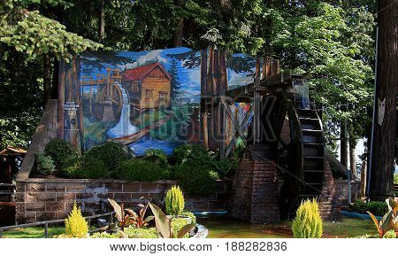 CHEMAINUS BC, CANADA - MAY 30, 2016. Chemainus is a town on the east coast of Vancouver Island, British Columbia famous for its outdoor murals.