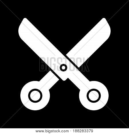 scissors vector icon. White scissors illustration on black background. Solid linear beauty icon. eps 10