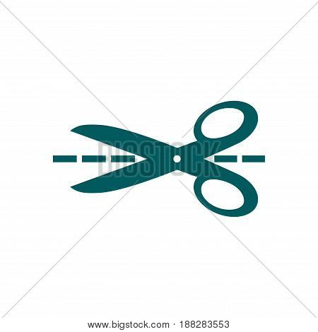 Scissors with-cut lines icon. Badge place of cutting.