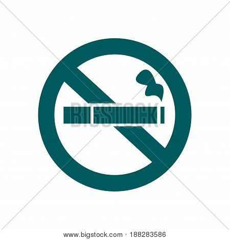 No smoke icon. Stop smoking symbol. Vector illustration. Filter-tipped cigarette. Icon for public places.