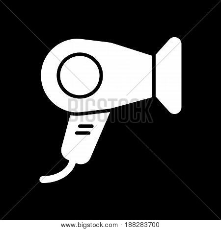 Hair dryer vector icon. White hotel room hair dryer illustration on black background. Solid linear hair dressing icon. eps 10