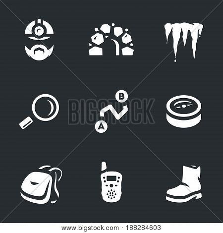 Man, cave, stalactite, magnifier, route, compass, backpack, radio, boot.