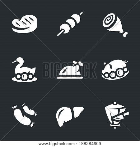 Steak, barbecue, shank, peking duck, chicken, pig, sausages, liver, shaurma.