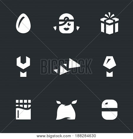 Egg, child, gift, key, instruction, screwdriver, chocolate, bib, container.