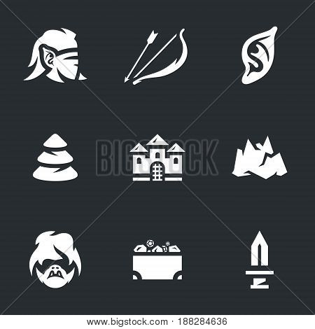 Elf, bow and arrow, ear, forest, castle, mountain, troll, treasure, sword.