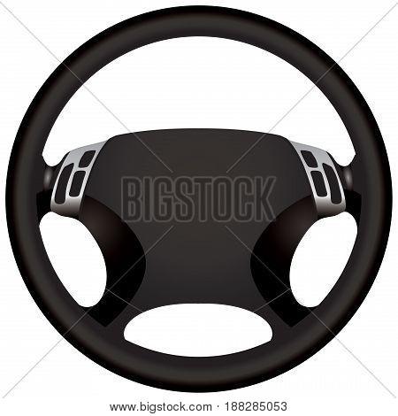 A modern car steering wheel for a sports car