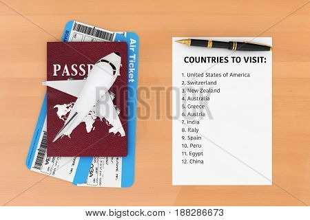 AIr Travel Concept. Airplane Passport Tickets Pen and Paper with Countries to Visit List on a wooden table. 3d Rendering.