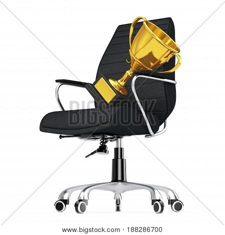 Black Leather Boss Office Chair with Golden Trophy on a white backgroundl. 3d Rendering.