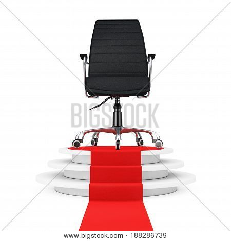 Black Leather Boss Office Chair over Round White Pedestal with Steps and a Red Carpet on a white backgroundl. 3d Rendering.