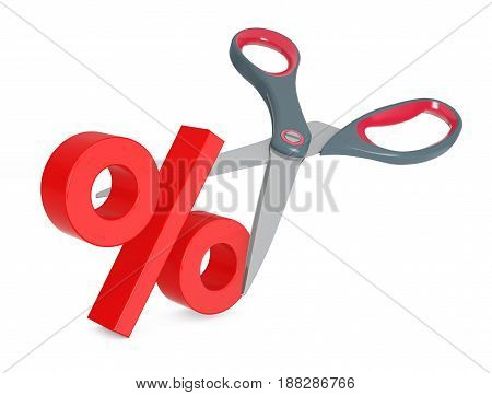 Cutting Percent Sign with Scissors on a white background. 3d Rendering.