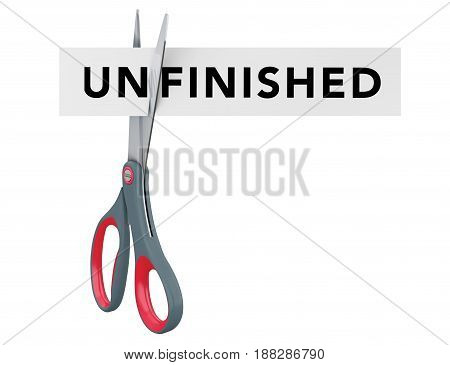 Cutting Unfinished to Finished Paper Sign with Scissors on a white background. 3d Rendering.