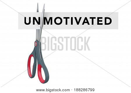 Cutting Unmotivated to Motivated Paper Sign with Scissors on a white background. 3d Rendering.